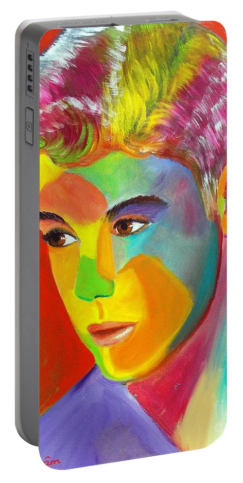 Autism Portable Battery Charger featuring the painting Justin Bieber 1 by To-Tam Gerwe