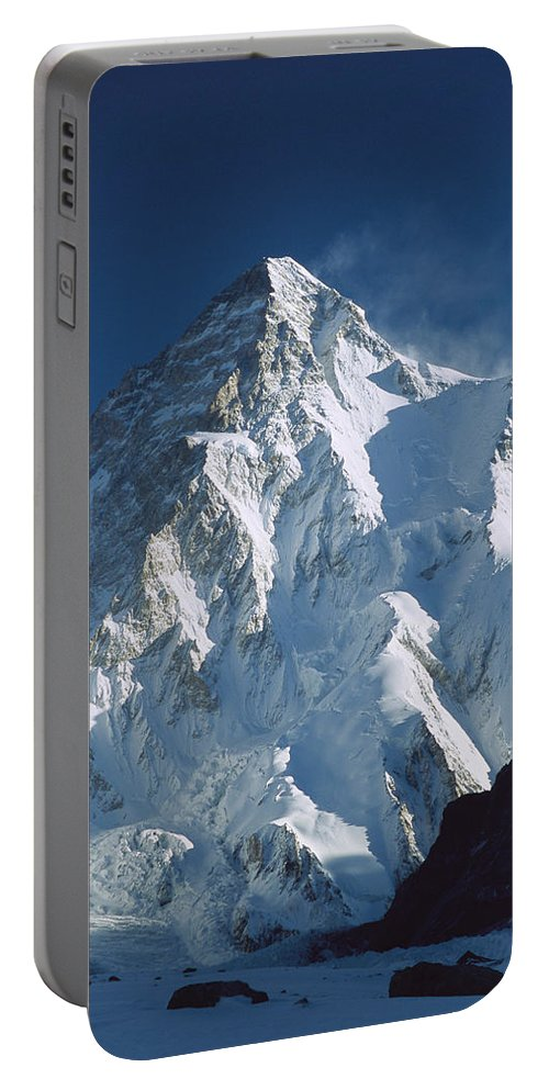 Feb0514 Portable Battery Charger featuring the photograph K2 At Dawn Pakistan by Colin Monteath