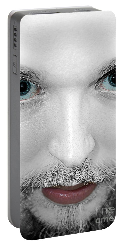 Kabuki Portable Battery Charger featuring the photograph Kabuki-face by Toula Mavridou-Messer