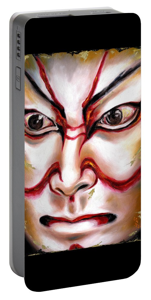 Kabuki Portable Battery Charger featuring the painting Kabuki One by Hiroko Sakai