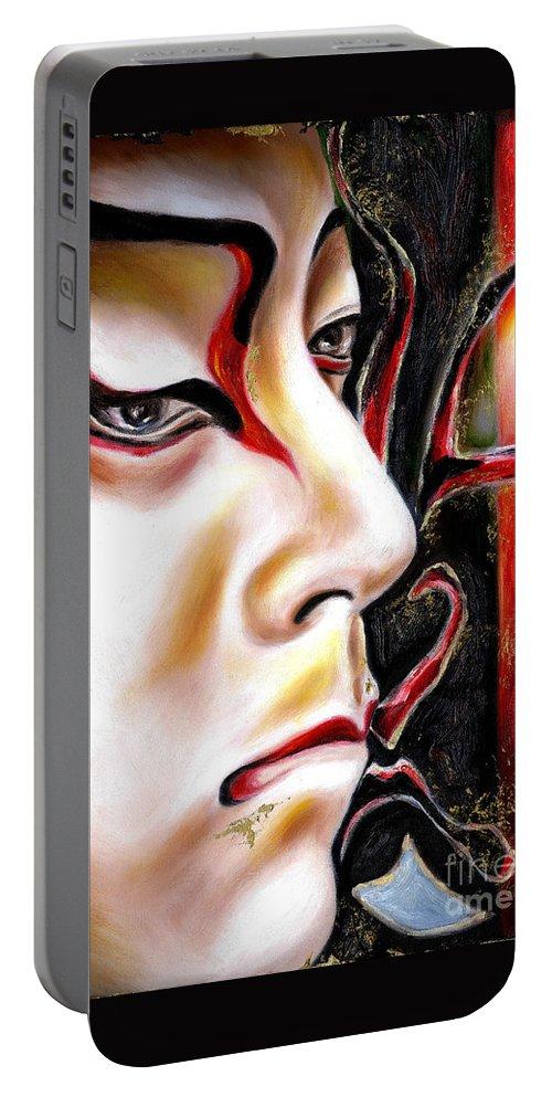 Kabuki Portable Battery Charger featuring the painting KABUKI three by Hiroko Sakai