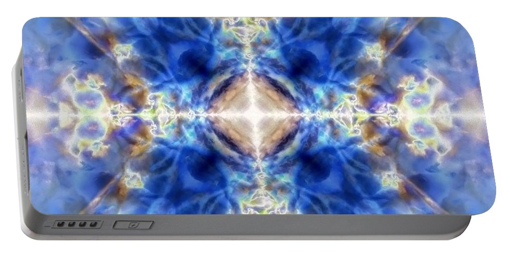 Blue Portable Battery Charger featuring the digital art Kaleido 8 by Steve Ball