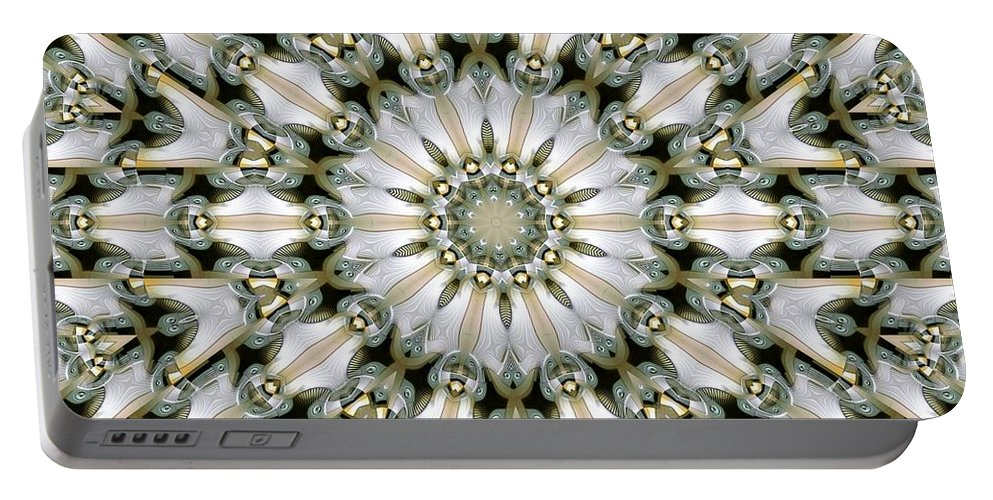 Kaleidoscope Portable Battery Charger featuring the digital art Kaleidoscope 28 by Ron Bissett