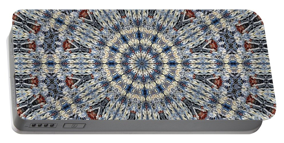Kaleidoscope Portable Battery Charger featuring the digital art Kaleidoscope 29 by Ron Bissett