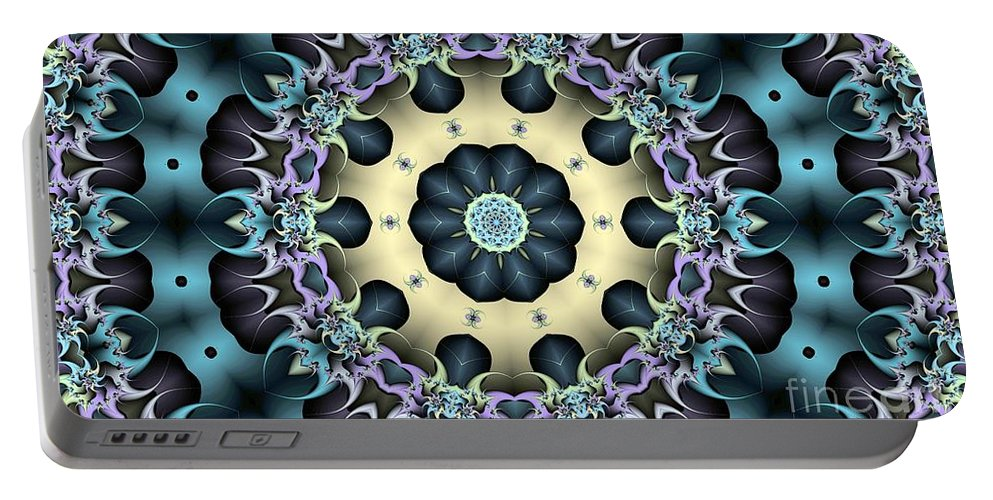 Kaleidoscope Portable Battery Charger featuring the digital art Kaleidoscope 57 by Ron Bissett