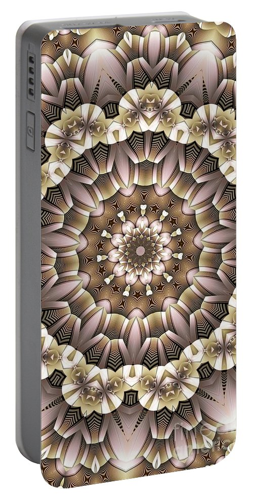 Kaleidoscope Portable Battery Charger featuring the digital art Kaleidoscope 65 by Ron Bissett