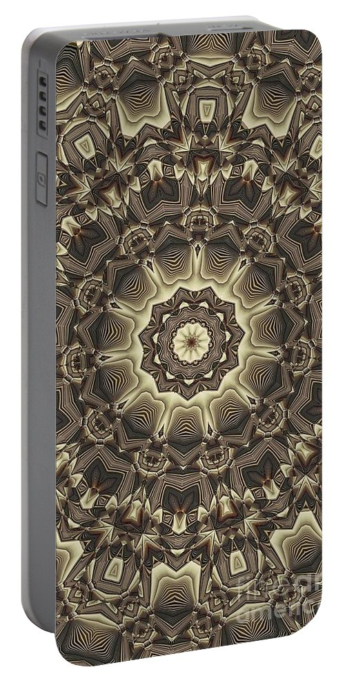 Kaleidoscope Portable Battery Charger featuring the digital art Kaleidoscope 66 by Ron Bissett