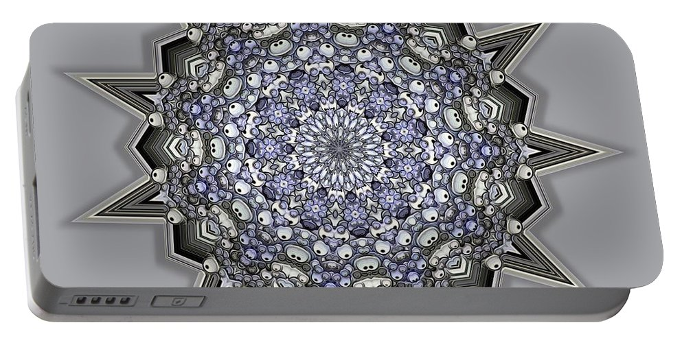 Kaleidoscope Portable Battery Charger featuring the digital art Kaleidoscope 69 by Ron Bissett