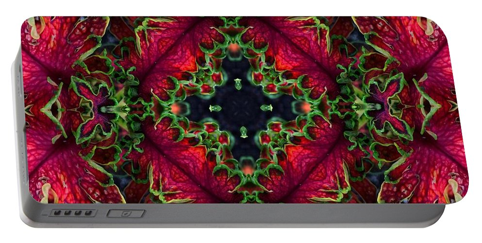 Kaleidoscope Portable Battery Charger featuring the photograph Kaleidoscope Made From An Image Of A Coleus Plant by Amy Cicconi