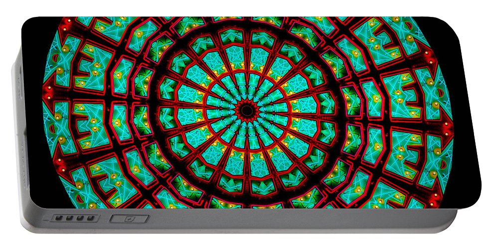 Abstract Portable Battery Charger featuring the digital art Kaleidoscope Of A Neon Sign by Amy Cicconi