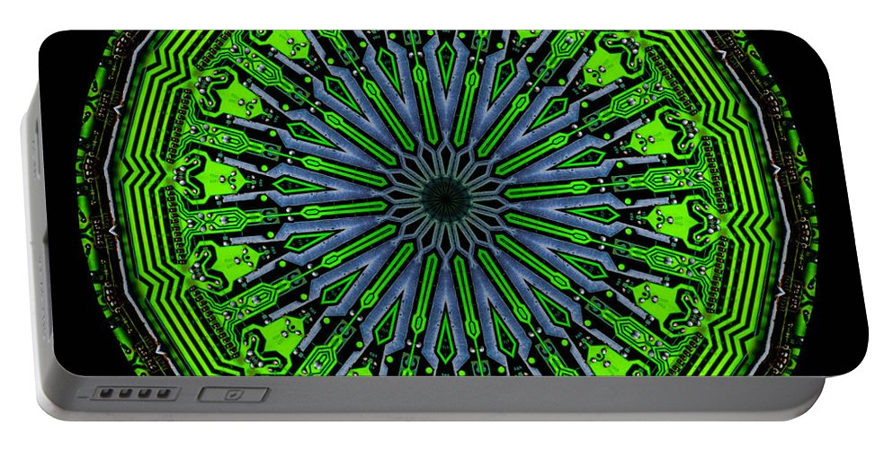 Abstract Portable Battery Charger featuring the digital art Kaleidoscope Of Glowing Circuit Board by Amy Cicconi