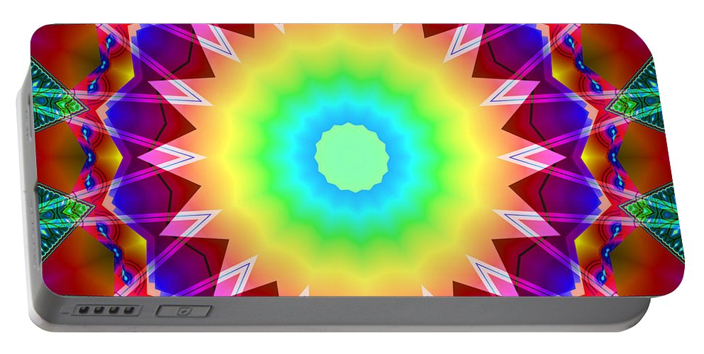 Ultra Fractal Portable Battery Charger featuring the digital art Kaleidoscope Rainbow by Mario Carini