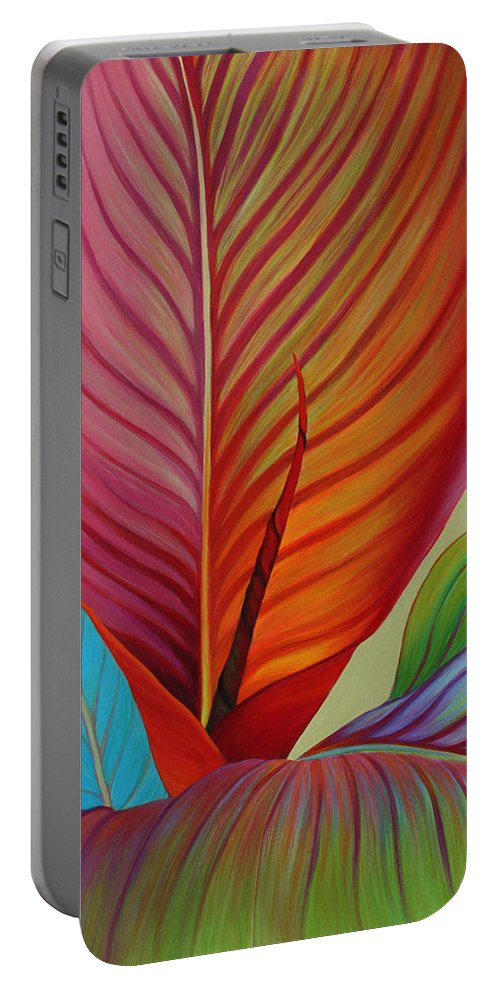Kaleidoscope Portable Battery Charger featuring the painting Kaleidoscope by Sandi Whetzel
