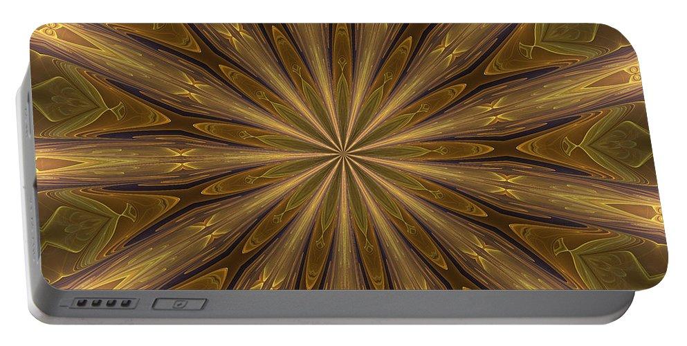 Kaleidoscope Portable Battery Charger featuring the digital art Kaleidoscope With Gold by Deborah Benoit