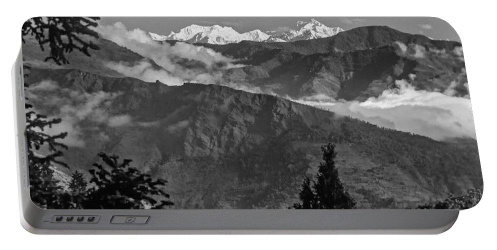 Darjeeling Portable Battery Charger featuring the photograph Kanchenjunga Monochrome by Steve Harrington