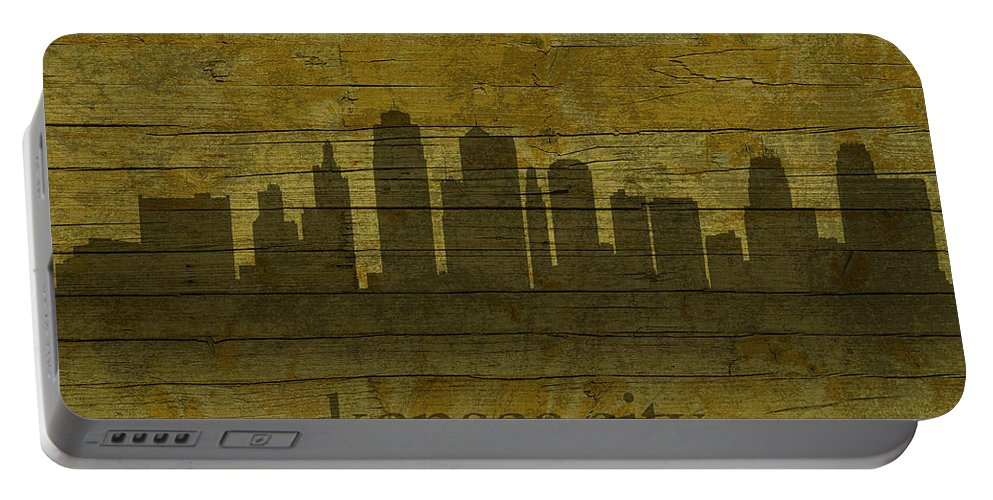 Kansas Portable Battery Charger featuring the mixed media Kansas City Missouri City Skyline Silhouette Distressed On Worn Peeling Wood by Design Turnpike