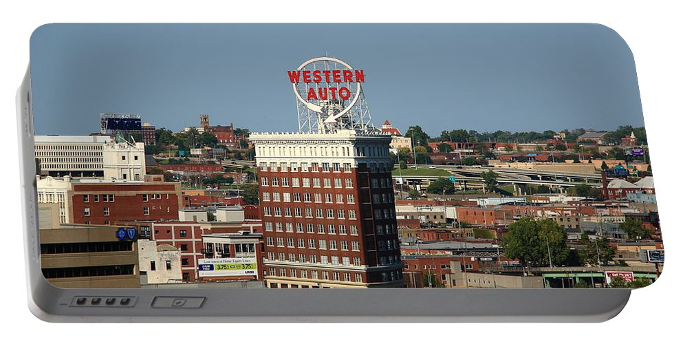 America Portable Battery Charger featuring the photograph Kansas City - Western Auto Building by Frank Romeo