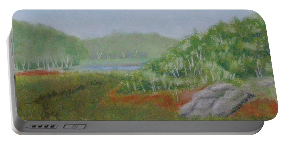 Landscape Portable Battery Charger featuring the painting Kantola Swamp by Lynn Quinn