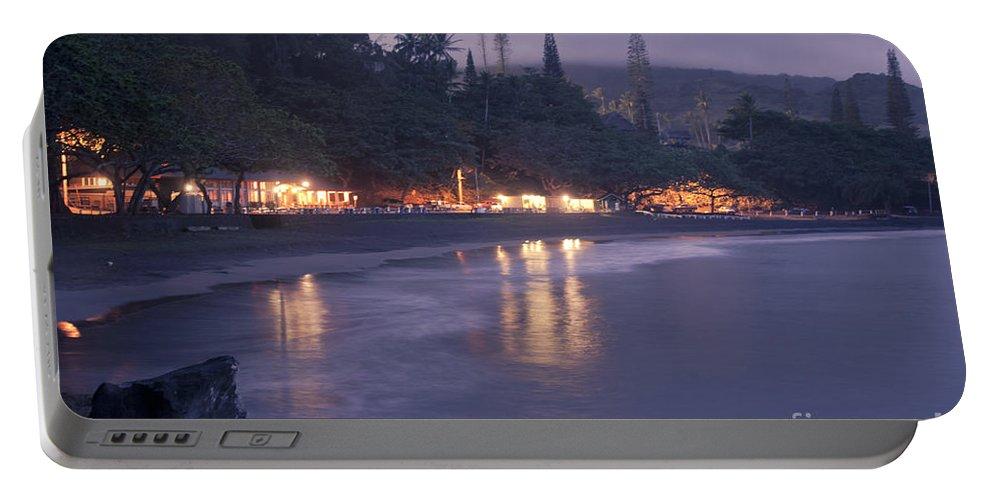 Aloha Portable Battery Charger featuring the photograph Kapueokahi - Hana Bay - Sunset Hana Maui Hawaii by Sharon Mau