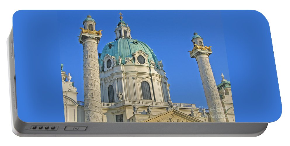 Vienna Portable Battery Charger featuring the photograph Karlskirche - Vienna by Ann Horn