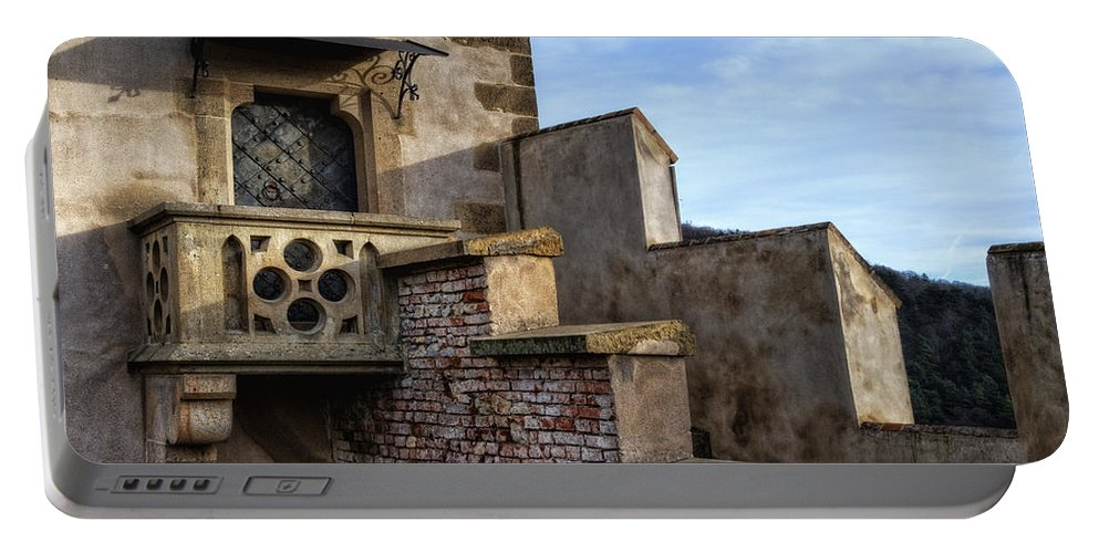 Joan Carroll Portable Battery Charger featuring the photograph Karlstejn Castle Doorway by Joan Carroll