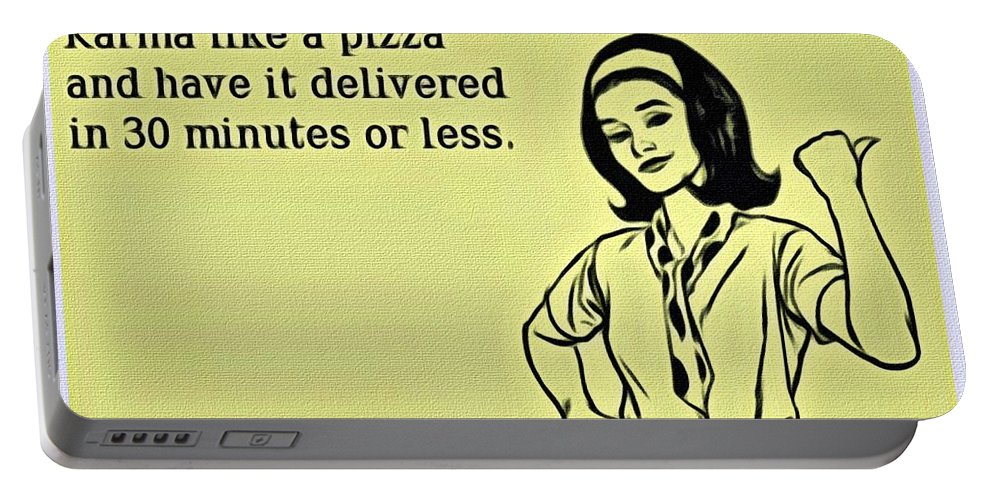 Order Portable Battery Charger featuring the painting Karma Like Pizza by Florian Rodarte
