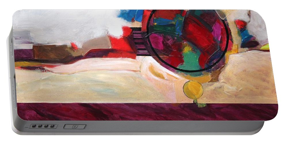 Abstract Portable Battery Charger featuring the painting Karma by Marlene Burns