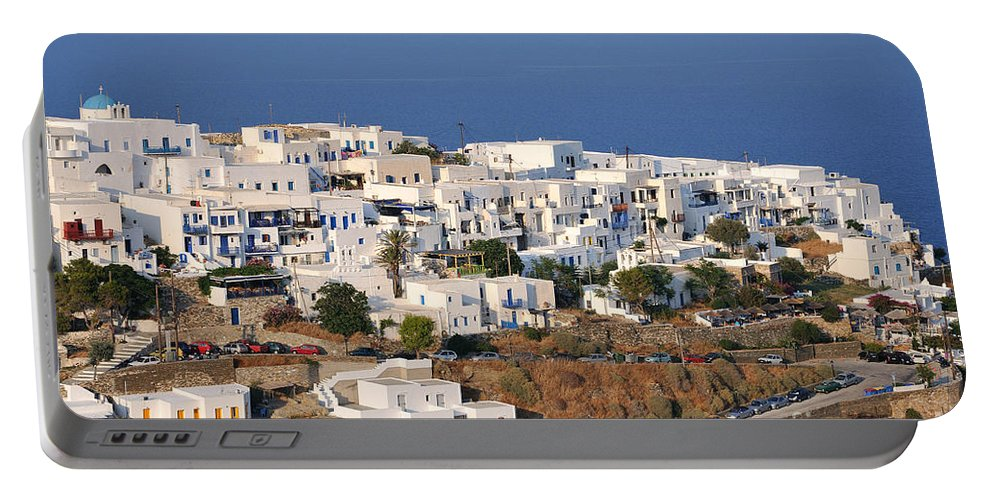 Sifnos; Kastro; Castro; Village; Town; White; Houses; Afternoon Light; Greece; Greek; Hellas; Cyclades; Kyklades; Aegean; Islands; Holidays; Vacation; Travel; Trip; Voyage; Journey; Tourism; Touristic; Island; Summer; Blue; Sea; Sky Portable Battery Charger featuring the photograph Kastro Village In Sifnos Island by George Atsametakis