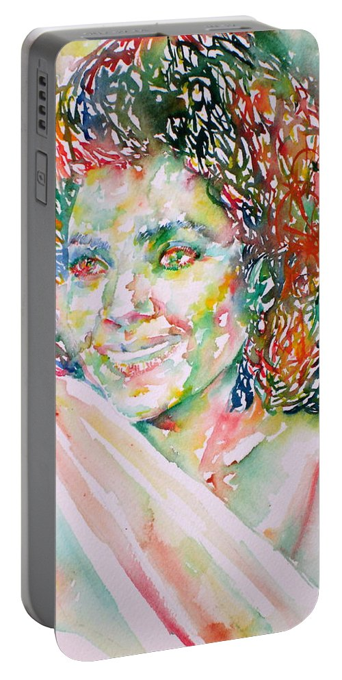 Kathleen Battle Portable Battery Charger featuring the painting Kathleen Battle - Watercolor Portrait by Fabrizio Cassetta