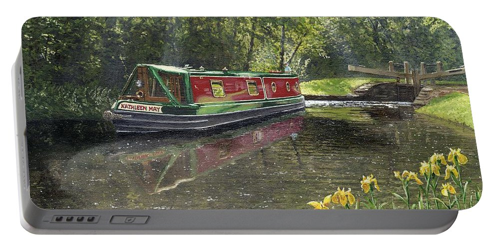 Landscape Portable Battery Charger featuring the painting Kathleen May Chesterfield Canal Nottinghamshire by Richard Harpum