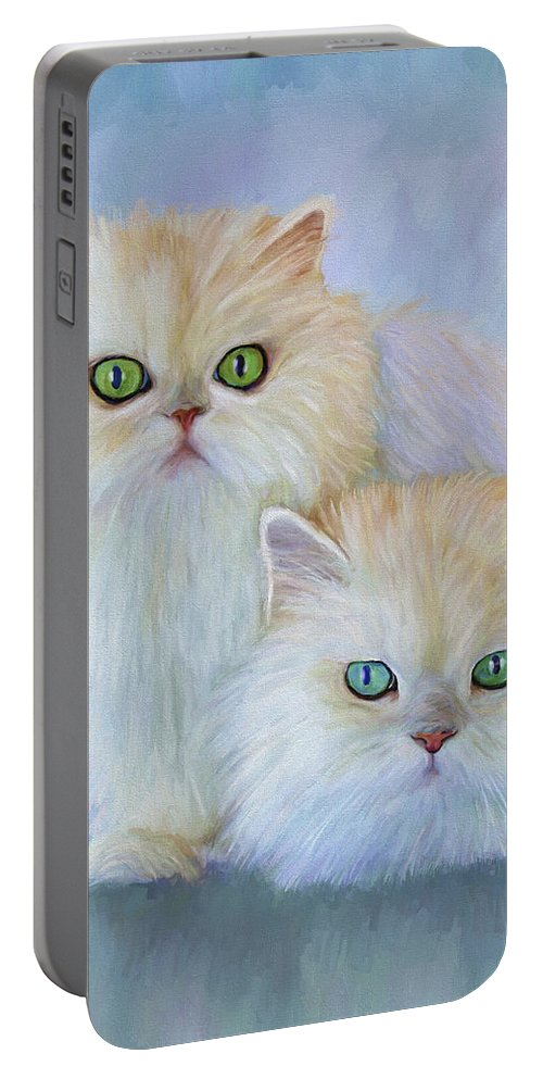 Cat Portable Battery Charger featuring the painting Katrina And Bjorn by David Wagner