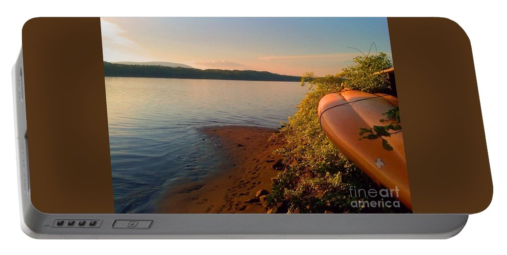 Kayak Portable Battery Charger featuring the photograph Kayak On The Hudson by Beth Ferris Sale