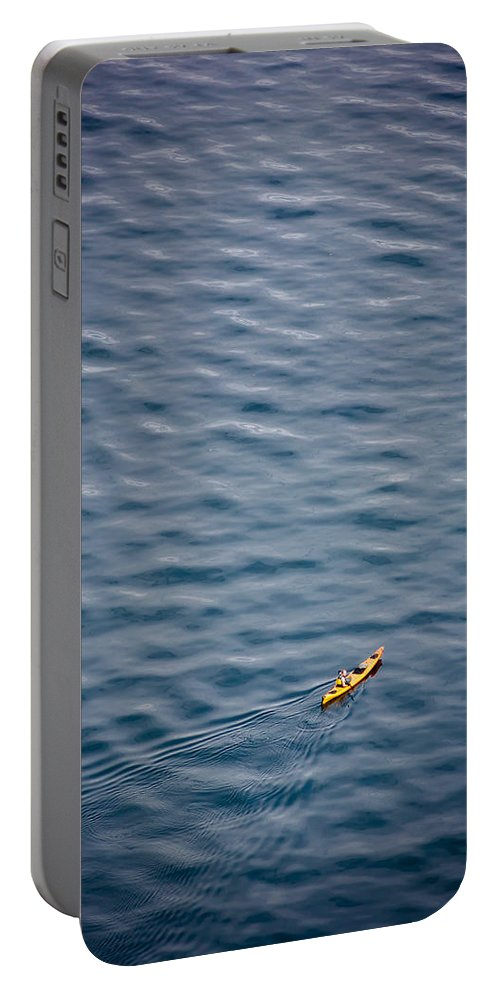 Kayak Portable Battery Charger featuring the photograph Kayaking Alone by Mike Penney