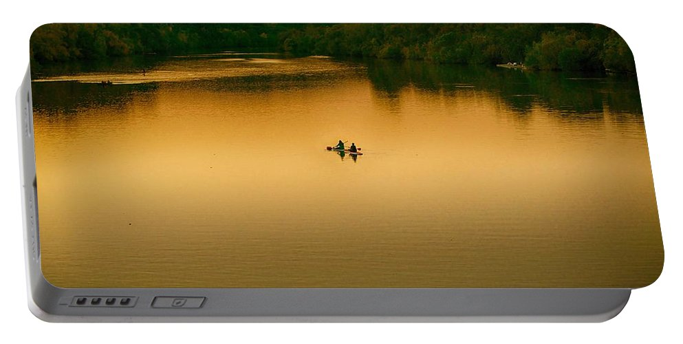 Kayak Portable Battery Charger featuring the photograph Kayaking On Lady Bird Lake by Kristina Deane