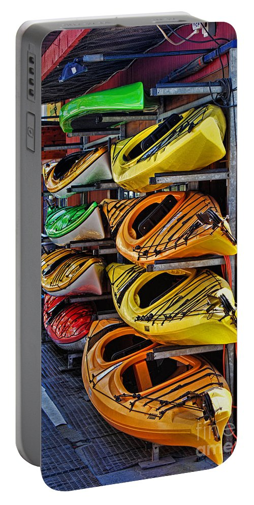 Kayaks Portable Battery Charger featuring the photograph Kayaks Hdrbt3226-13 by Randy Harris