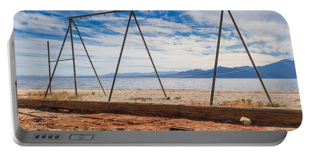 Salton Sea Portable Battery Charger featuring the photograph Keep Out No Playing Here Swing Set Playground by Scott Campbell
