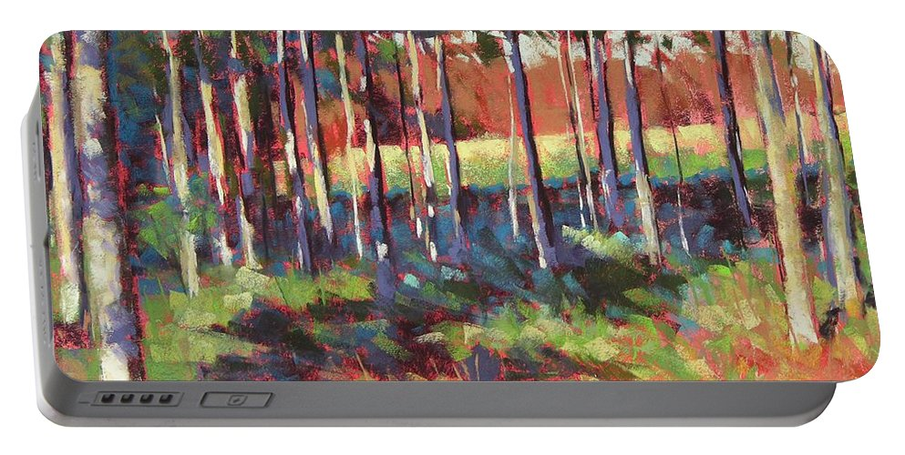 Landscape Portable Battery Charger featuring the painting Kelly's Trees by Mary McInnis