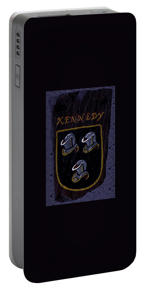 Family Shield Portable Battery Charger featuring the painting Kennedy Crest by Barbara McDevitt