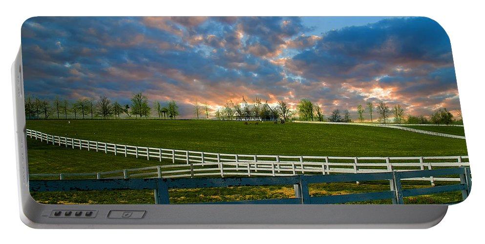 Kentucky Horse Barn Portable Battery Charger featuring the photograph Kentucky Famous Horse Hotel by Randall Branham