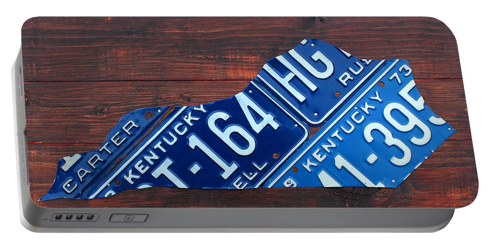 Kentucky Portable Battery Charger featuring the mixed media Kentucky License Plate Map The Bluegrass State by Design Turnpike