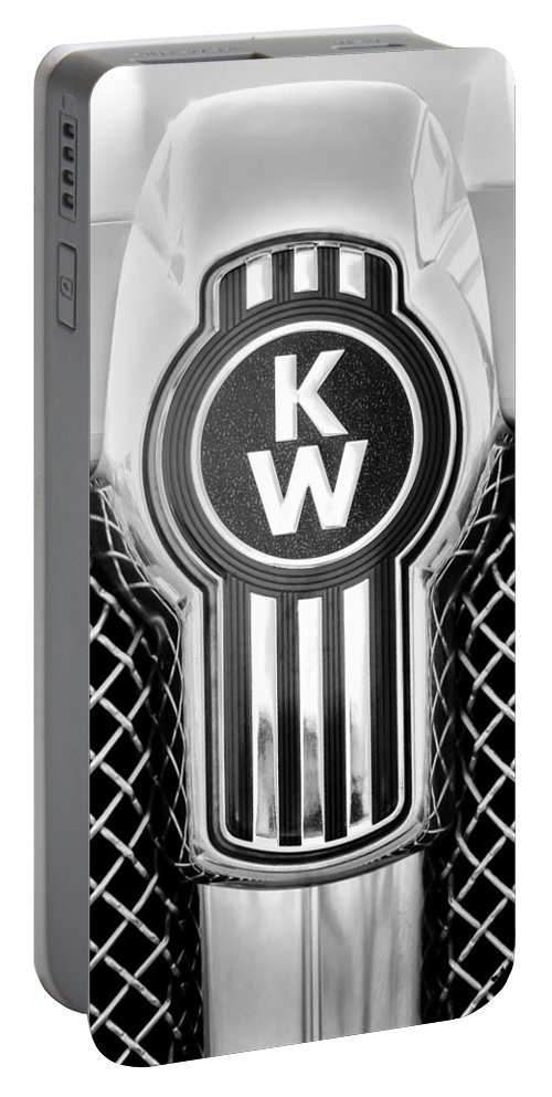Kenworth Truck Emblem Portable Battery Charger featuring the photograph Kenworth Truck Emblem -1196bw by Jill Reger