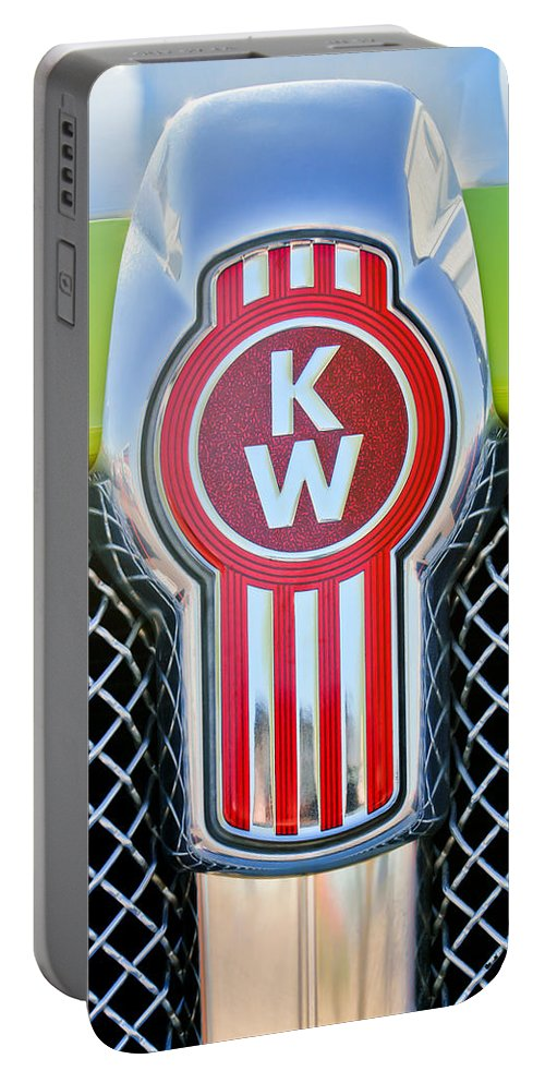 Kenworth Truck Emblem Portable Battery Charger featuring the photograph Kenworth Truck Emblem -1196c by Jill Reger