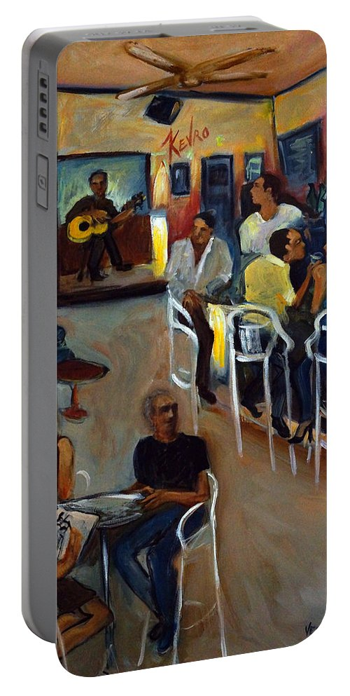 Art Bar Portable Battery Charger featuring the painting Kevro's Art Bar by Valerie Vescovi