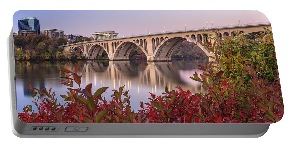Washington Dc Portable Battery Charger featuring the photograph Graceful Feeling - Washington Dc Key Bridge by Carol VanDyke