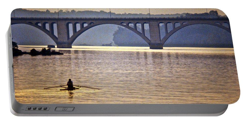 Key Bridge Portable Battery Charger featuring the photograph Key Bridge Rower by Stuart Litoff