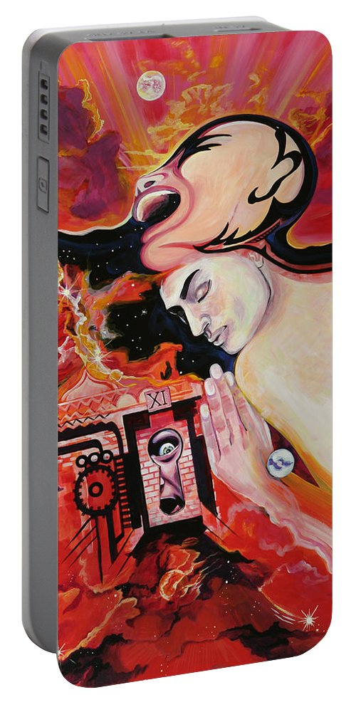 Passion Portable Battery Charger featuring the painting Keyhole by Yelena Tylkina