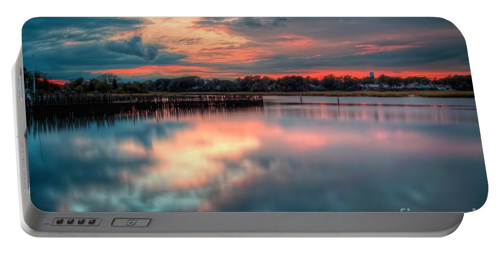 Hdr Portable Battery Charger featuring the photograph Keyport Nj Sunset Reflections by Michael Ver Sprill