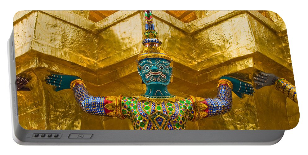 3scape Portable Battery Charger featuring the photograph Khon Guard by Adam Romanowicz