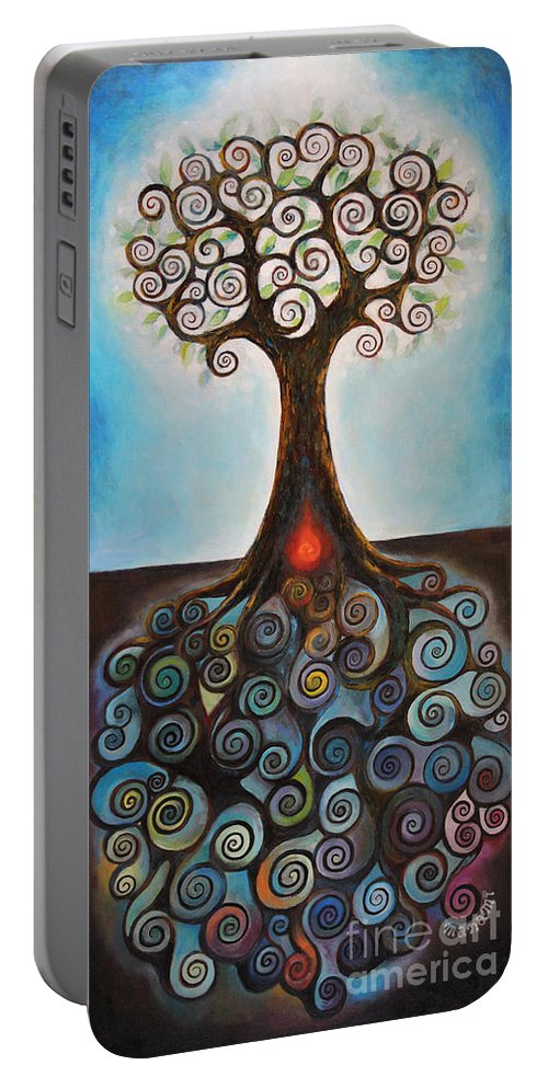 Ki Portable Battery Charger featuring the painting Ki by Manami Lingerfelt