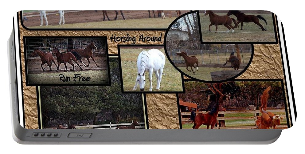 Acrylic Prints Portable Battery Charger featuring the photograph Horses Kickin It by Bobbee Rickard